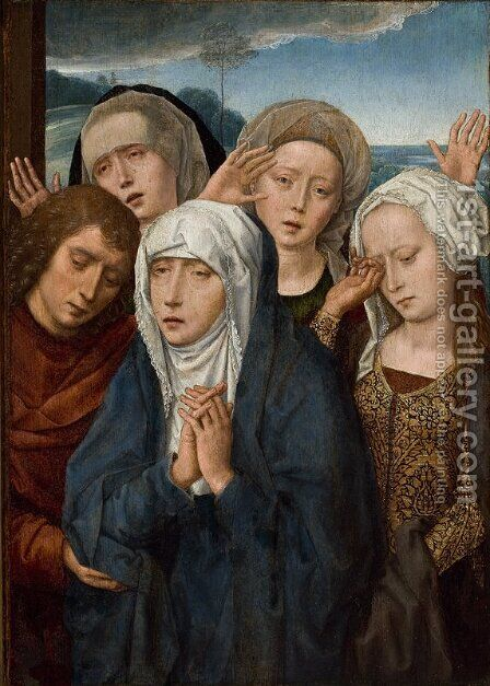 The Mourning Virgin with St. John and the Pious Women from Galilee by Hans Memling - Reproduction Oil Painting