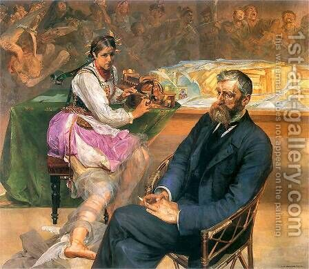Portrait of Adam Asnyk with a Muse by Jacek Malczewski - Reproduction Oil Painting
