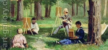 Artists in the Open Air by Efim Efimovich Volkov - Reproduction Oil Painting