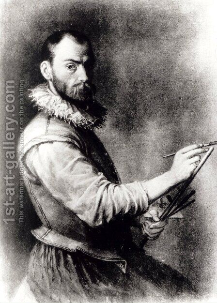 Self-Portrait 5 by Annibale Carracci - Reproduction Oil Painting