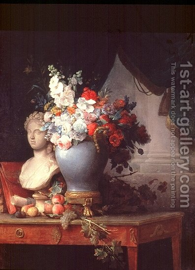 Vase of Flowers with a Bust of Flora by Anne Vallayer-Coster - Reproduction Oil Painting