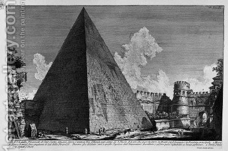 The Roman antiquities, t. 3, Plate XL. View of the Pyramid of Caius Cestius. by Giovanni Battista Piranesi - Reproduction Oil Painting