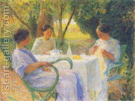 Young Women in Garden in Marquayrol by Henri Martin - Reproduction Oil Painting
