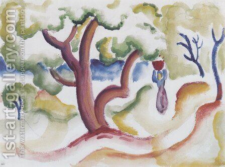 Woman with pitcher under trees by August Macke - Reproduction Oil Painting