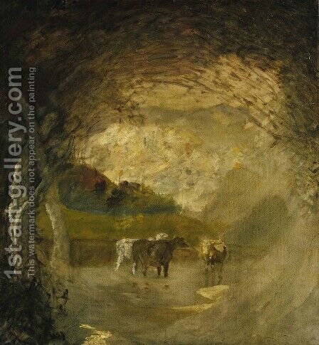 Landscape with Trees and Cattle by Albert Pinkham Ryder - Reproduction Oil Painting