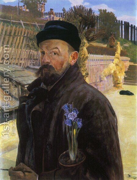 Self-portrait with hyacinth by Jacek Malczewski - Reproduction Oil Painting
