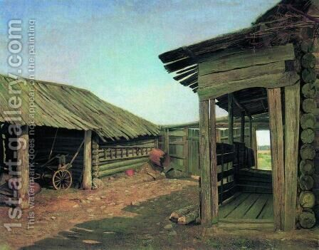 Village courtyard. End of 1860 by Ivan Shishkin - Reproduction Oil Painting