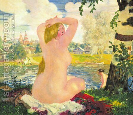 Bathing 3 by Boris Kustodiev - Reproduction Oil Painting