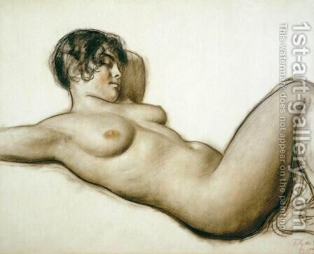 Lying Nude by Boris Kustodiev - Reproduction Oil Painting