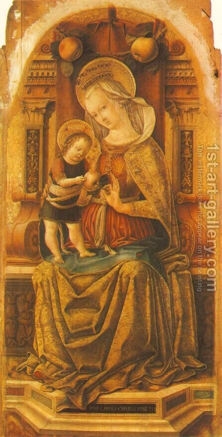Madonna and Child Enthroned by Carlo Crivelli - Reproduction Oil Painting
