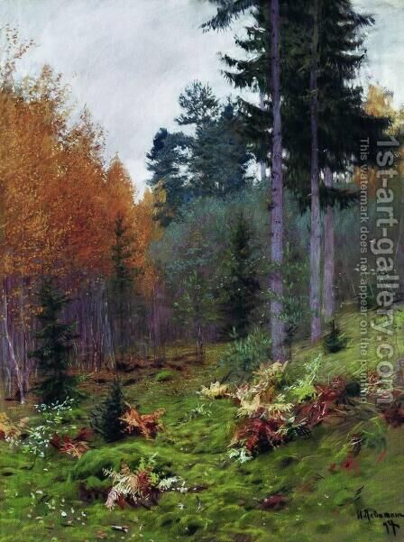 In the forest at autumn by Isaak Ilyich Levitan - Reproduction Oil Painting