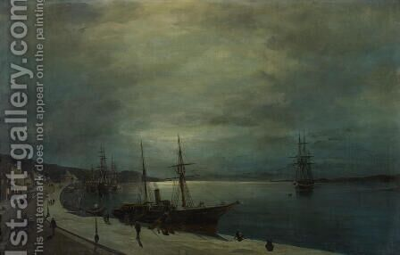 Moonlit harbour by Constantinos Volanakis - Reproduction Oil Painting