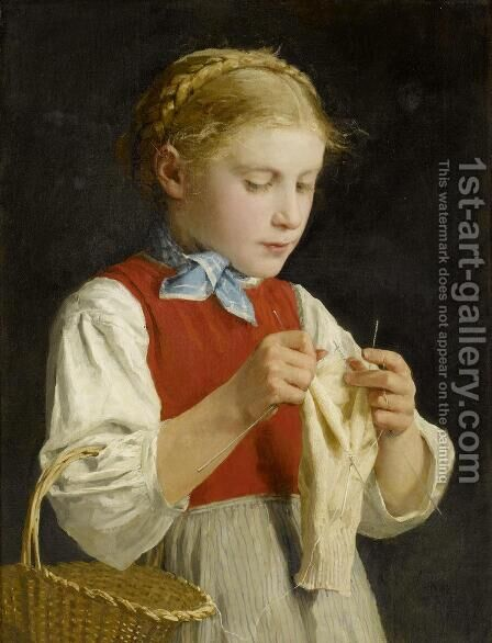 Young Girl Knitting by Albert Anker - Reproduction Oil Painting