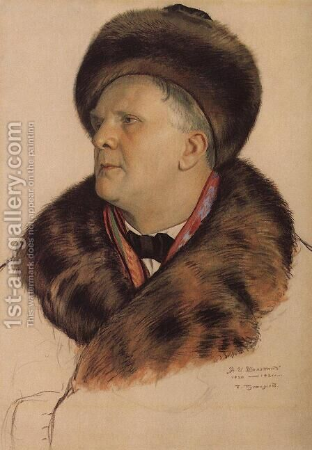 Portrait of F.I. Chaliapin by Boris Kustodiev - Reproduction Oil Painting