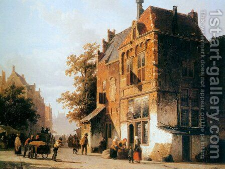 Westermarket in Amsterdam by Cornelis Springer - Reproduction Oil Painting