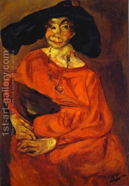 Woman in Red by Chaim Soutine - Reproduction Oil Painting