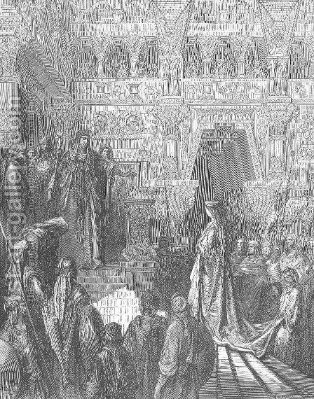 Solomon Receives the Queen of Sheba by Gustave Dore - Reproduction Oil Painting