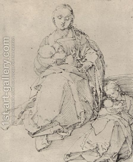 Study sheet with Mary and Child by Albrecht Durer - Reproduction Oil Painting