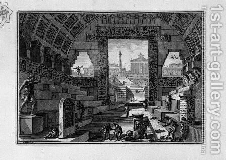 Ancient school engineered by Egyptian and Greek by Giovanni Battista Piranesi - Reproduction Oil Painting