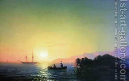 Sunset at the Crimean coast by Ivan Konstantinovich Aivazovsky - Reproduction Oil Painting