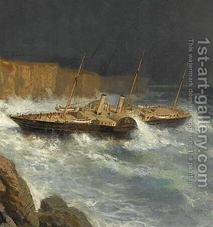 Wreck of Livadia (fragment) by Aleksei Petrovich Bogolyubov - Reproduction Oil Painting