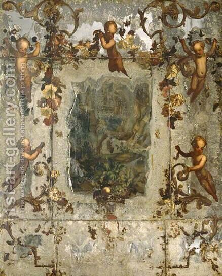 Mirror Decorated with Putti, Flowers and Acanthus Scrolls by dei Fiori (Nuzzi) Mario - Reproduction Oil Painting