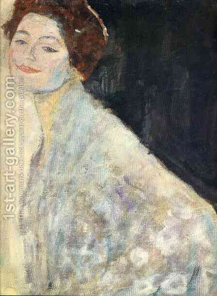 Portrait of a Lady in White (unfinished) by Gustav Klimt - Reproduction Oil Painting