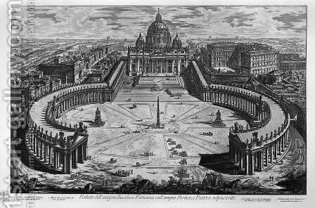 Map of Rome and the Campus Martius with the relevant Index and dedication to Clement XIII in three sheets, and title listed by Giovanni Battista Piranesi - Reproduction Oil Painting