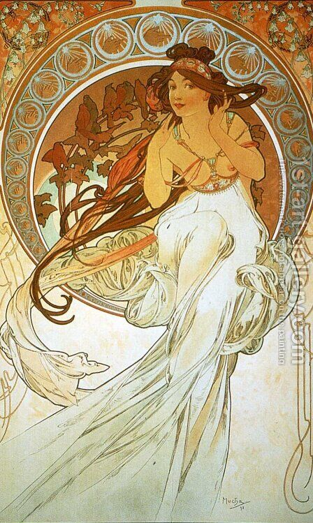 Music by Alphonse Maria Mucha - Reproduction Oil Painting