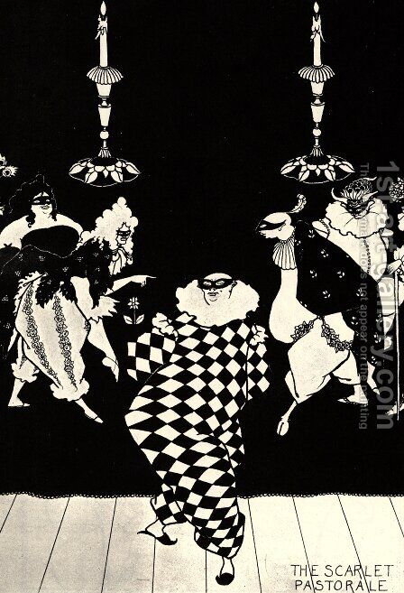 The Scarlet Pastorale by Aubrey Vincent Beardsley - Reproduction Oil Painting