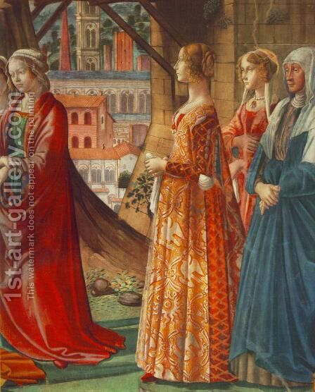 Giovanna Tornabuoni and Her Accompaniment by Domenico Ghirlandaio - Reproduction Oil Painting