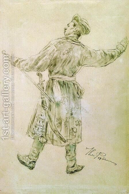 Figure of dancing man by Ilya Efimovich Efimovich Repin - Reproduction Oil Painting