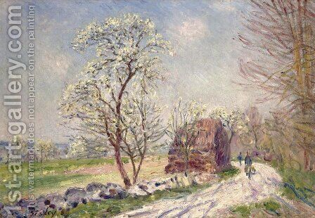 Along the Woods in Spring by Alfred Sisley - Reproduction Oil Painting