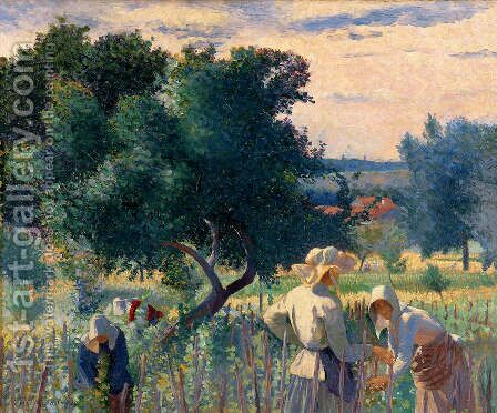Women Tying the Vine by Henri Edmond Cross - Reproduction Oil Painting