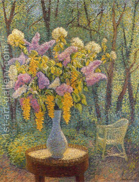 Vase of Flowers in a Garden by Henri Martin - Reproduction Oil Painting