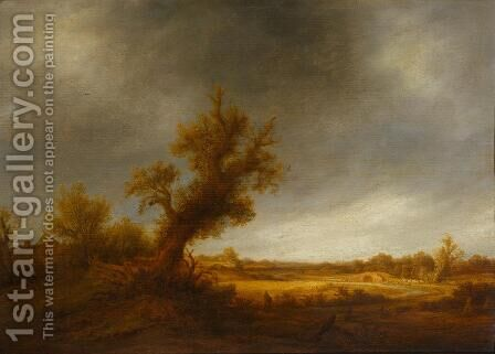 Landscape with an Old Oak by Adriaen Jansz. Van Ostade - Reproduction Oil Painting