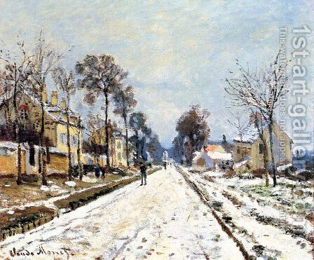 Snow Effect, The Road to Louveciennes by Claude Oscar Monet - Reproduction Oil Painting