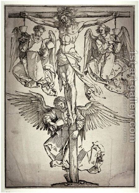 Christ on the Cross with Three Angels 2 by Albrecht Durer - Reproduction Oil Painting