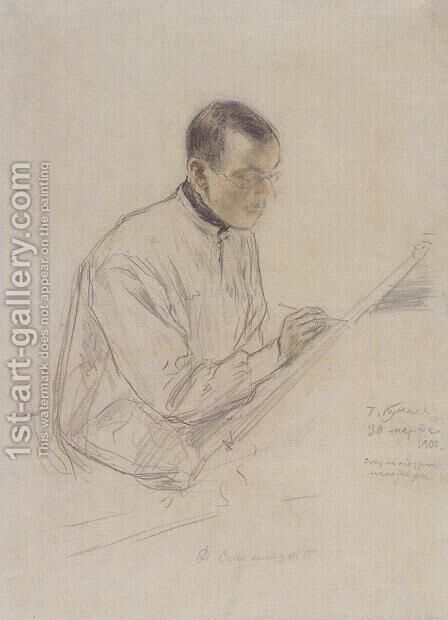 Portrait of D.S. Stelletsky at work by Boris Kustodiev - Reproduction Oil Painting