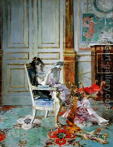 Girl Reading in a Salon by Giovanni Boldini - Reproduction Oil Painting