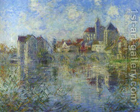 Moret on Loing and the church by Gustave Loiseau - Reproduction Oil Painting