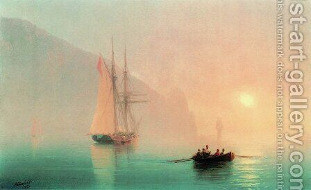 Ayu-Dag on a foggy day by Ivan Konstantinovich Aivazovsky - Reproduction Oil Painting
