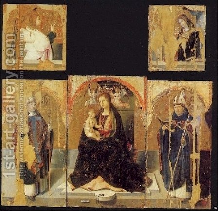 Polyptych with St. Gregory by Antonello da Messina Messina - Reproduction Oil Painting