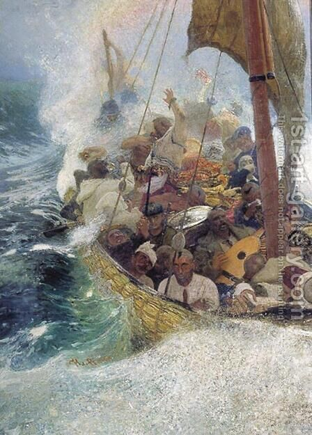 Cossacks on the Black Sea by Ilya Efimovich Efimovich Repin - Reproduction Oil Painting
