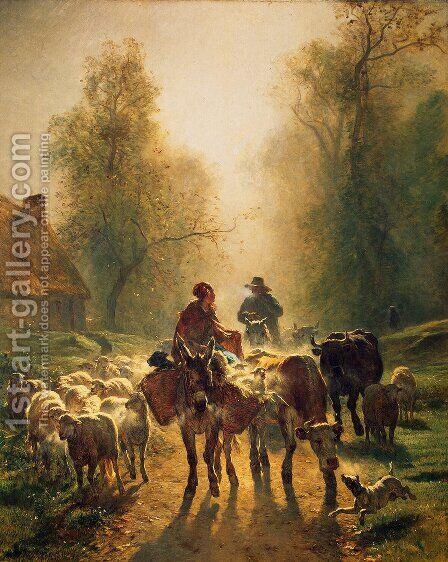 On the Way to the Market by Constant Troyon - Reproduction Oil Painting