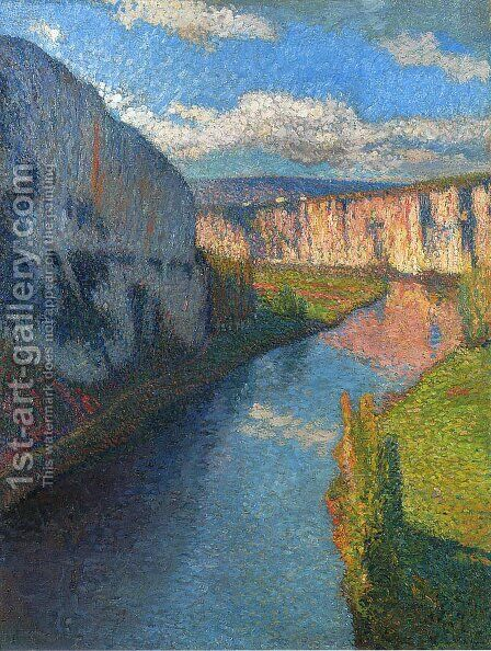 View of the Lot of Saint Cirq Lapopie 2 by Henri Martin - Reproduction Oil Painting