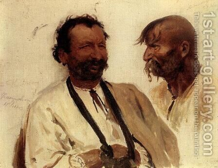 Two Ukrainian peasants by Ilya Efimovich Efimovich Repin - Reproduction Oil Painting