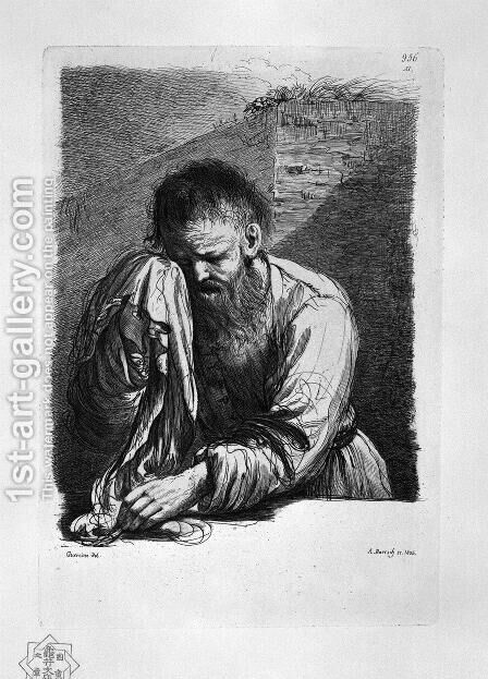 Old Weeping (half length) by Guercino by Giovanni Battista Piranesi - Reproduction Oil Painting