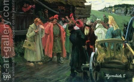 At cradling archers walk by Boris Kustodiev - Reproduction Oil Painting