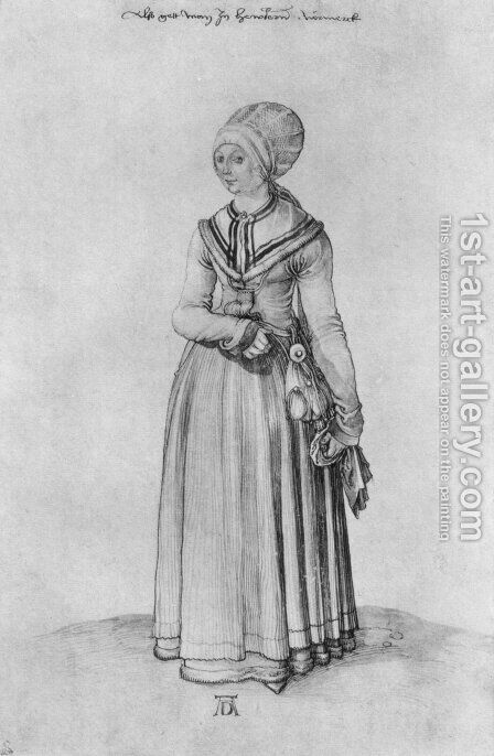 Nuremberg woman in house dress by Albrecht Durer - Reproduction Oil Painting